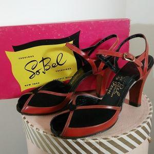 Vintage 40s 50s cognac sling back peep toe heels